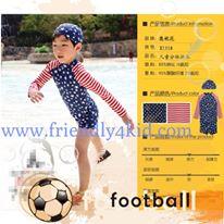 ชุดว่ายน้ำ เซ็ตเสื้อแขนยาวลายธงชาติ+กางเกง+หมวก