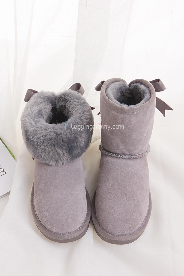 รองเท้าบูทหิมะกันหนาว รุ่นมีโบว์ สีเทาไซต์ 36