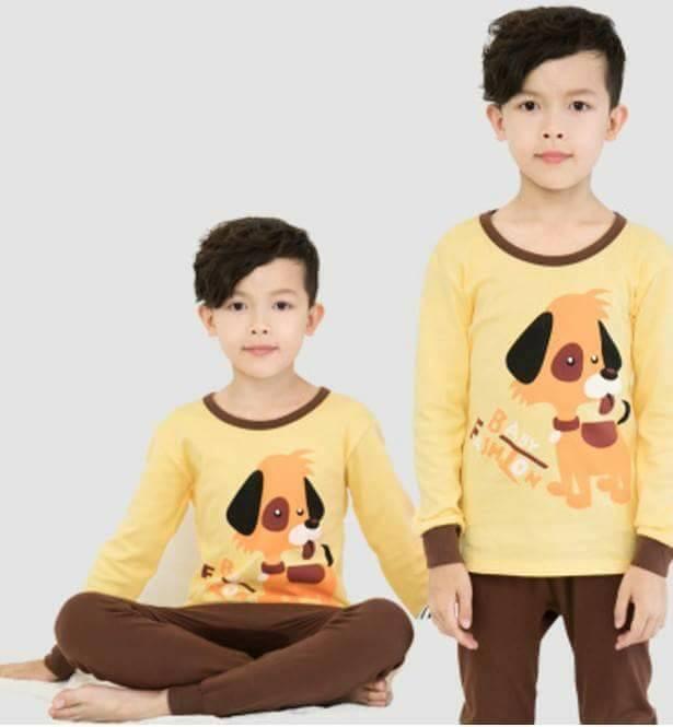 ชุดนอนเด็กแขนยาว ขาจัมส์ ลายหมาสีเหลือง