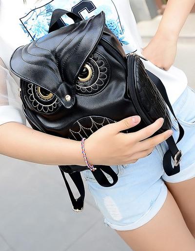 กระเป๋า แฟชั่น ทรงนกฮูก แสนเก๋ไก๋ สไตล์เกาหลี-B019-สีดำ