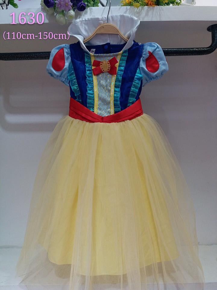 ชุดเด็ก : เดรสเจ้าหญิงสโนไวท์ ทรงยาวสีเหลืองอ่อน+ผ้าคลุมสีแดง