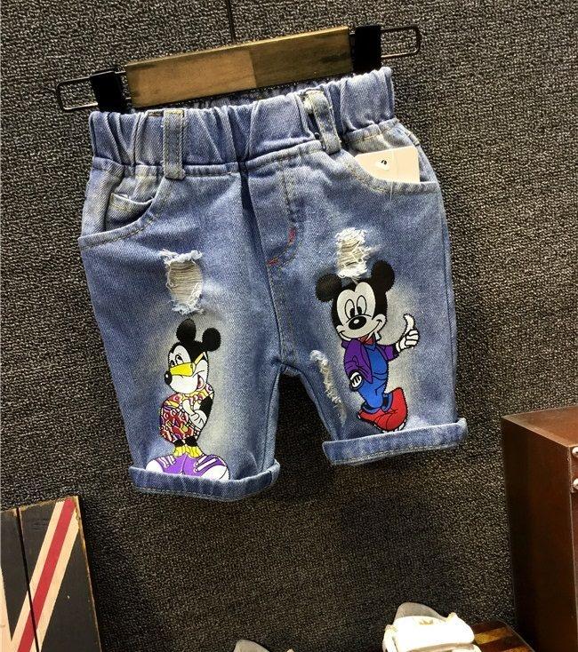 ชุดเด็ก : กางเกงยีนส์ สามส่วน มิ๊กกี้เมาส์