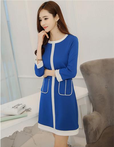 ชุดเดรสแฟชั่นสีน้ำเงิน ใส่ทำงานสวยหวานสไตล์เกาหลี-1614