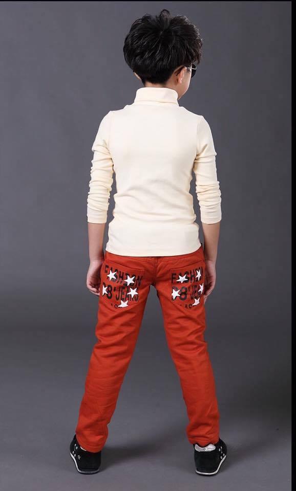 กางเกงขายาว ปักดาวกระเป๋าด้านหลัง สีส้ม
