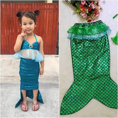 ชุดว่ายน้ำเด็ก เซ็ตหางนางเงือก เสื้อระบายสีฟ้า+กางเกงขาสั้น+หางเงือก กรุ๊ปเล็ก สำเนา