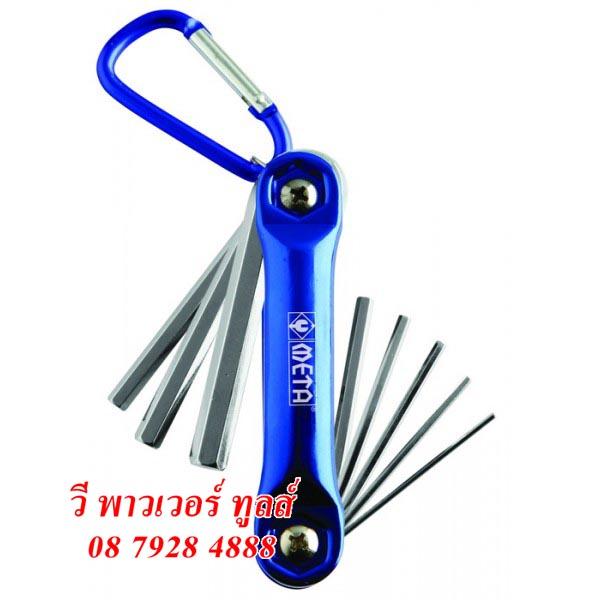 META ประแจหกเหลี่ยมพับได้ แบบพวงกุญแจ 10ตัวชุด หัวตัด (มิล)