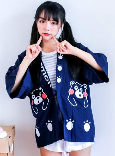 เสื้อคลุม สไตล์ฮาราจุกุ ลายพิมพ์หน้าลูกหมี KUMAMON