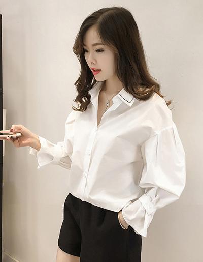 เสื้อแฟชั่นคอปก สไตล์เกาหลี-1596-สีขาว