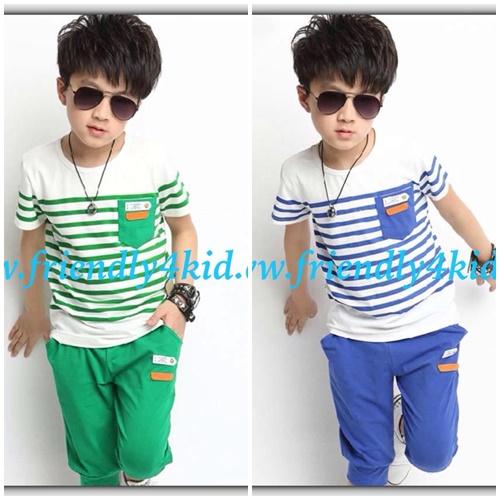 ชุดเด็ก : ชุดเซ็ตดสื้อลายขวาง สีเขียว+กางเกงสามส่วน