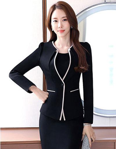 เสื้อสูทผู้หญิงสีดำ แบบสวยสไตล์เรียบหรู 4 size M/L/XL/XXL รหัส 1803