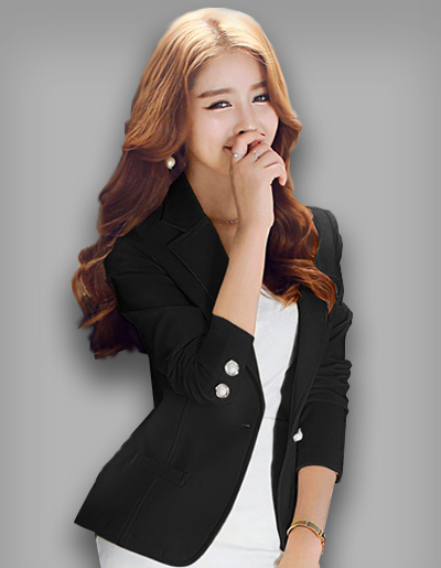 เสื้อสูทผู้หญิงแฟชั่นสีดำ ติดกระดุมมุกใส่ทำงานสวยหรู 5 ไซส์ S /M /L /XL /2XL รหัส 1594
