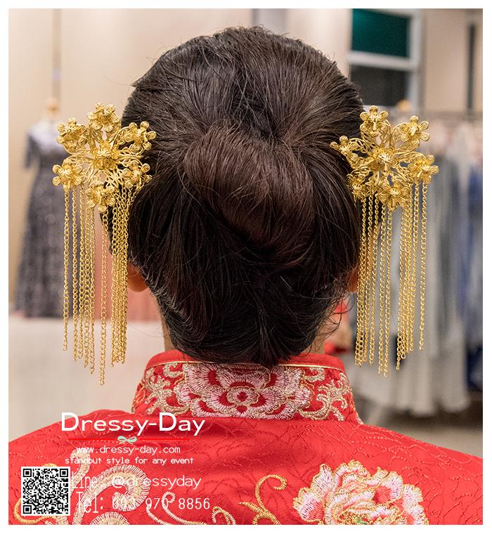 รหัส ปิ่นปักผมจีน : TR052 ขาย ปิ่นปักผมจีน พร้อมส่ง สีทอง เครื่องประดับผมจีน แบบโบราณ เหมาะมากสำหรับใส่ในพิธียกน้ำชา และงานแต่งงานธรรมเนียมจีน