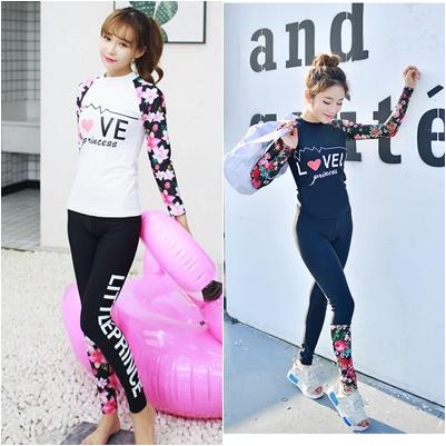 ชุดว่ายน้ำหญิง : ชุดเซ็ตเสื้อแขนยาวลายดอก +กางเกงขายาว ผู้ใหญ่