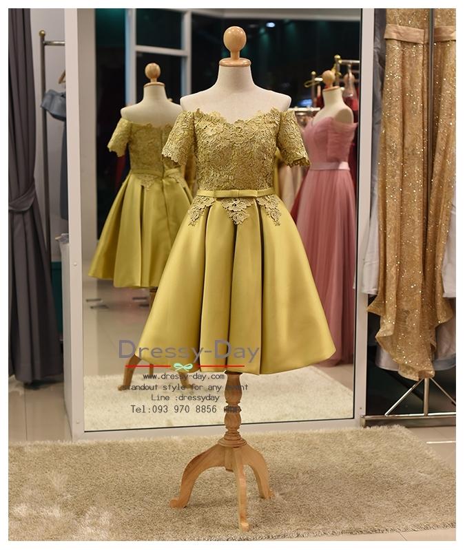 รหัส ชุดราตรี :PF089 ชุดแซก ชุดราตรีสั้น หรู สีทอง ผ้าไหม ลูกไม้ สวยเก๋มากๆ เหมาะสำหรับงานแต่งงาน งานกลางคืน กาล่าดินเนอร์