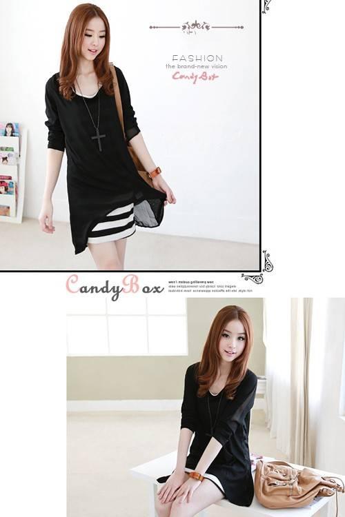 ชุดเดรสแฟชั่นเกาหลีน่ารัก ตัวนอกผ้าชีฟอง ตัวในผ้า cotton ลายขาวดำ น่ารักมี2ชิ้น