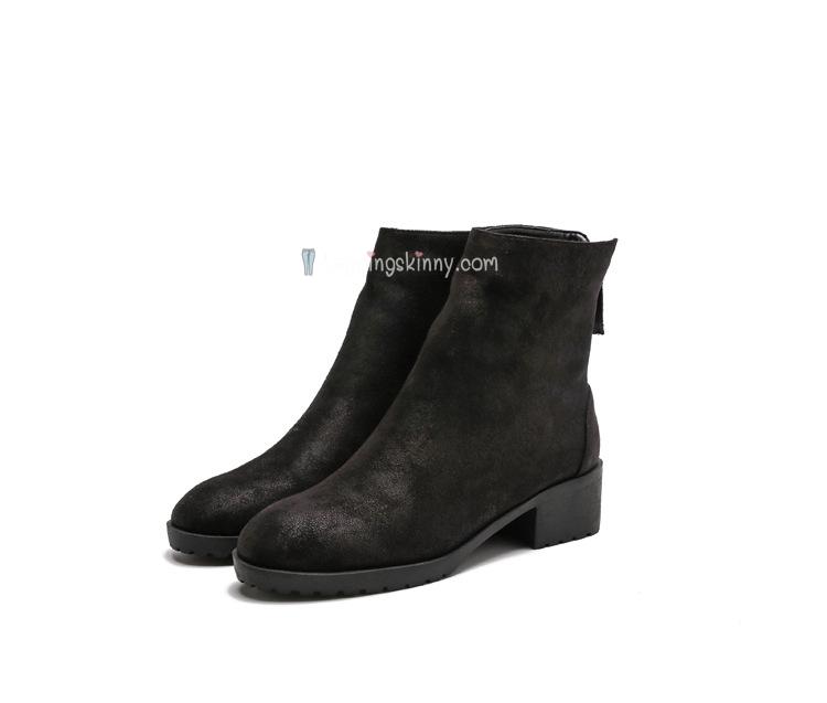 รองเท้าบูทสั้นหนังกลับนิ่ม บุขนกันหนาว สีดำ