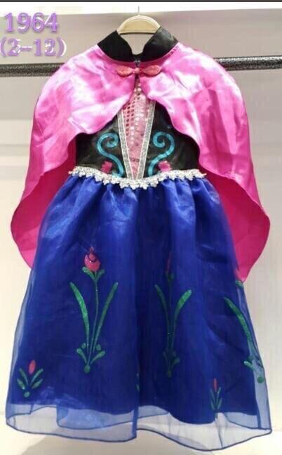 ชุดเจ้าหญิงโฟเซ่น น้องอันนา สีฟ้า-น้ำเงินแขนสั้น+ผ้าคลุม