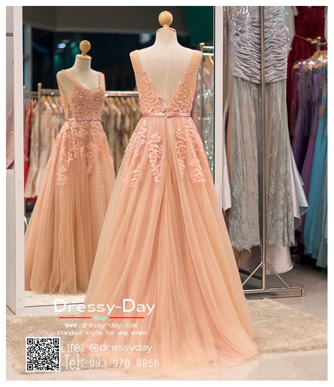 รหัส ชุดไปงานแต่ง :PF074 ชุดราตรียาว แขนกุด สีชมพูกะปิ สวย สง่า ดูดีแบบเจ้าหญิง ใส่ไปงานแต่งงาน งานกาล่าดินเนอร์ งานเลี้ยง งานพรอม งานรับกระบี่