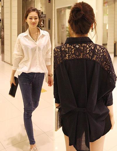 เสื้อแฟชั่นคอปกแขนยาวแต่งช่วงไหล่ผ้าลูกไม้แบบสวยหวานมี 2สี ขาว/ดำ รหัส 1735