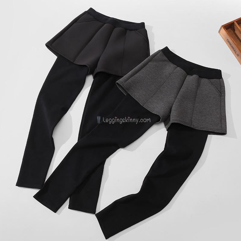 เลกกิ้งกางเกงขาสั้นผ้าฝ้ายหนา (ไม่บุขน) มี 2 สี