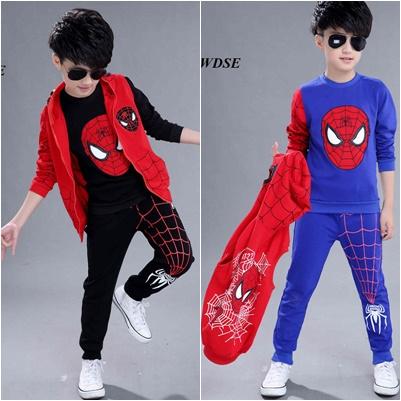 ชุดเด็ก : เสื้อคอกลม+เสื้อกั๊กมีฮูด+กางเกงขายาว สไปเดอร์แมนหน้ากลม