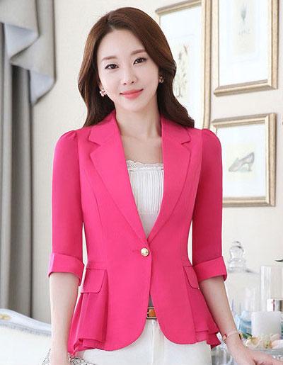 เสื้อสูทผู้หญิงสีชมพูแต่งแขนและชายระบายชีฟองสไตล์สวยหรูมี 5 ไซส S/M/L/XL/2XL รหัส 1804
