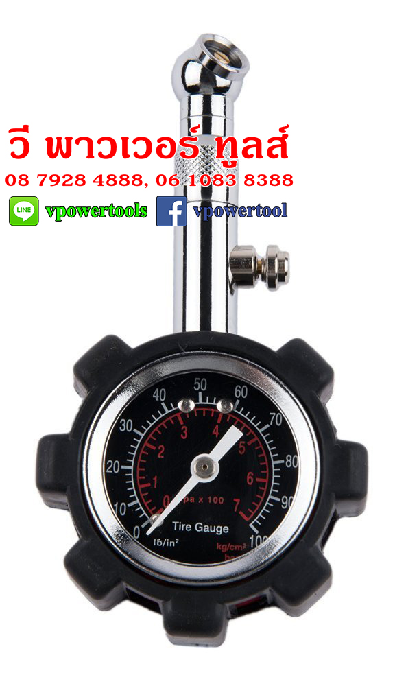 TIRE GAUGE PC-6233 เกจ์วัดลม (หุ้มยางสีดำ / สีแดง)