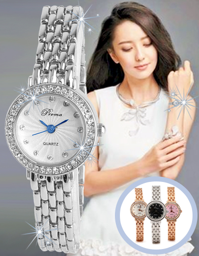 นาฬิกาข้อมือผู้หญิง หน้าปัดแต่งพลอยสายสแตนเลส-หน้าปัด 4 สี