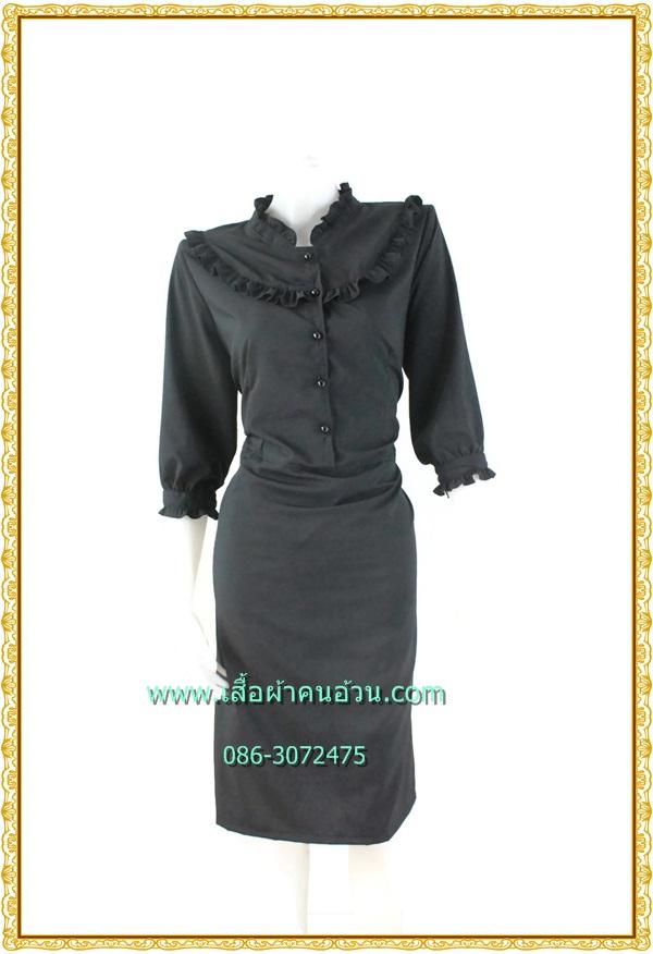 3223ชุดเดรสคนอ้วนสีดำคอจีนเล่นระบายปกตั้งเรียบร้อยสวมใส่ทำงานชุดยาวครึ่งแข่้ง