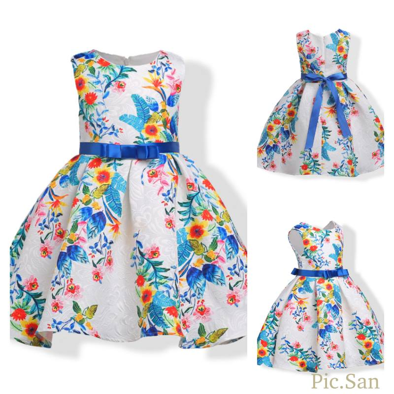 ชุดเด็ก : ชุดออกงาน สีขาวแขนกุด ลายดอกสีฟ้า