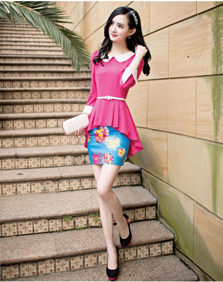 ชุดเดรสแฟชั่นเสื้อต่อกระโปรงลายดอก - สีชมพู