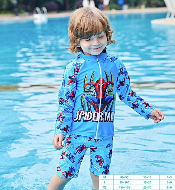 ชุดว่ายน้ำ สไปเดอร์แมน ซิปหน้า สีฟ้า
