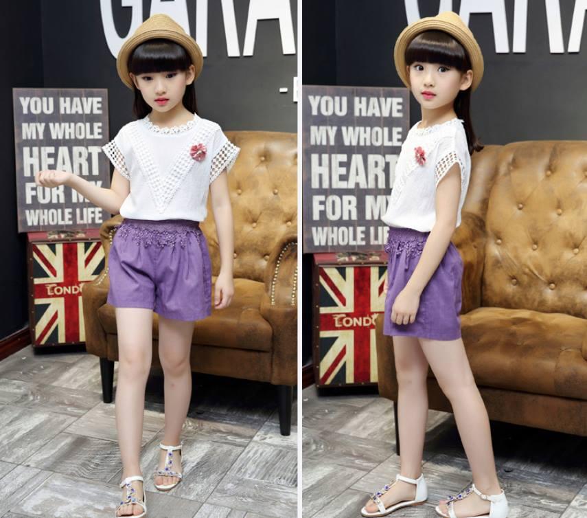 เซ็ตเสื้อสีขาว+กางเกงขาสั้นสีม่วง