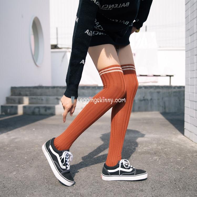 ถุงเท้าญี่ปุ่น แบบยาวเหนือเข่า ลายแถบ มี 5 สี