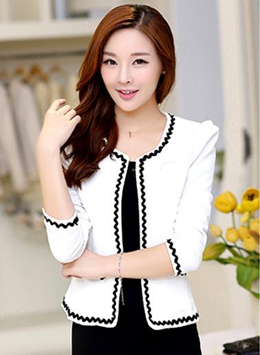 เสื้อคลุมพิธีการ ใส่ทำงานได้สวยหวานสไตล์เกาหลี-สีขาว-5size (S,M,L,XL,2XL)