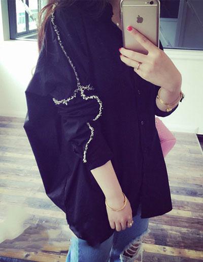 เสื้อเชื๊ตแฟชั่น คอปก แขนยาวใส่ง่ายๆ เท่หฺสไตล์เกาหลี รหัส 1716-สีดำ