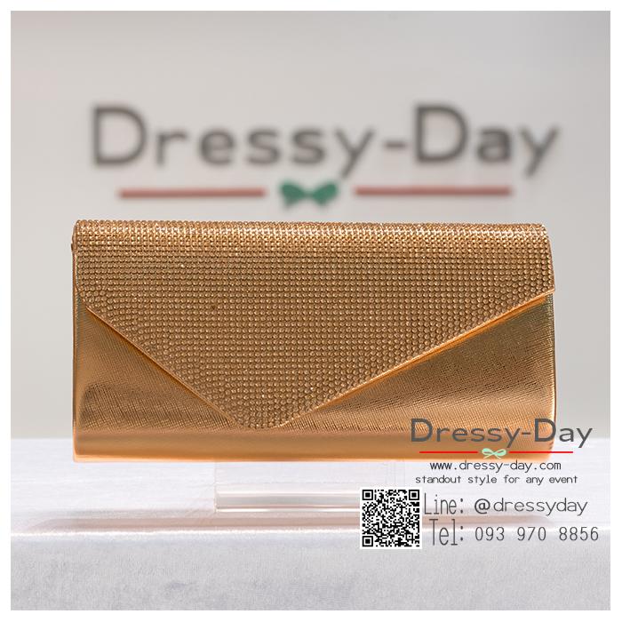 กระเป๋าออกงาน TE071 : กระเป๋าออกงานพร้อมส่ง สีแชมเปญ ดีเทลเพชร สุดหรู ราคาถูกกว่าห้าง ถือออกงาน หรือ สะพายออกงาน สวย หรู ดูดีเริ่ดมากค่ะ