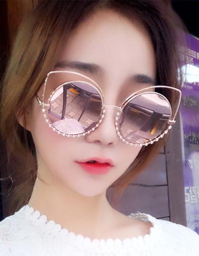 แว่นตาแฟชั่นกันแดด เลนส์กลม แต่งกรอบสุดเก๋สไตล์เกาหลี รหัส G003-สีชมพู