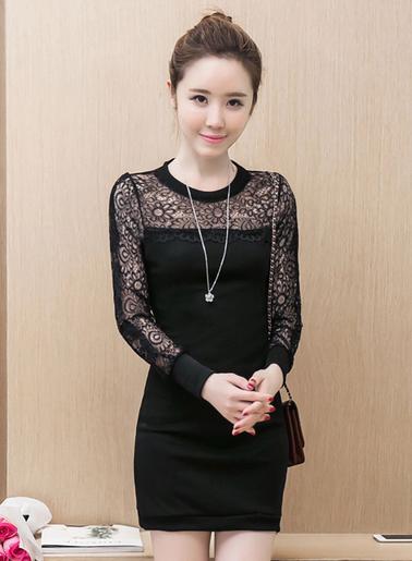 ชุดเดรสแฟชั่นสีดำ ช่วงแขนแต่งลูกไม้สวยหรูสไตล์เกาหลี