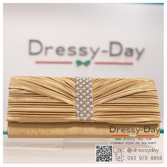 กระเป๋าออกงาน TE018: กระเป๋าออกงานพร้อมส่ง สีทอง ดีเทลเพชรประดับมุก สุดหรู ราคาถูกกว่าห้าง ถือออกงาน หรือ สะพายออกงาน สวย หรู ดูดีเริ่ดมากค่ะ