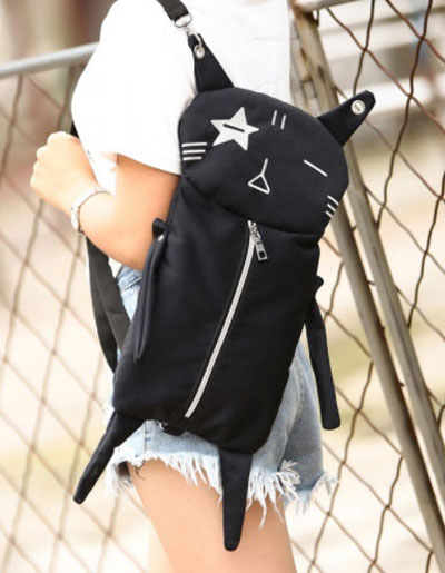 กระเป๋าเป้สีดำปักลายหน้าแมวสุดน่ารัก สะพายเก๋ๆ สไตล์เกาหลี B029