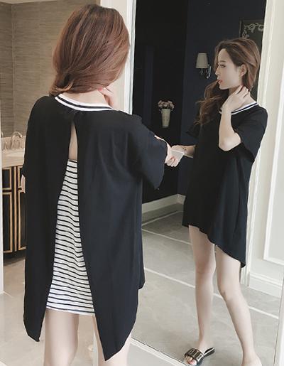 เสื้อแฟชั่นกึ่งเดรสคอกลมแขนสั้น แต่งเสื้อคลุมแหวกหลังสวยเก๋สไตล์เกาหลี -1669-สีดำ