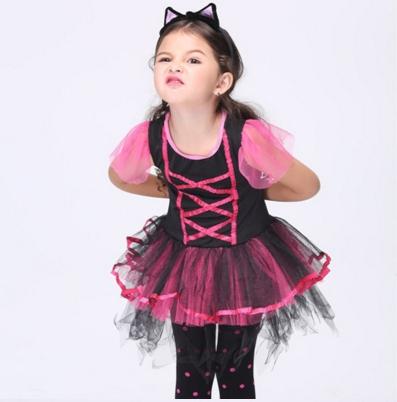 ชุดเด็ก :เดรสแฟนซี สีดำ -ชมพู พร้อมที่คาดผม