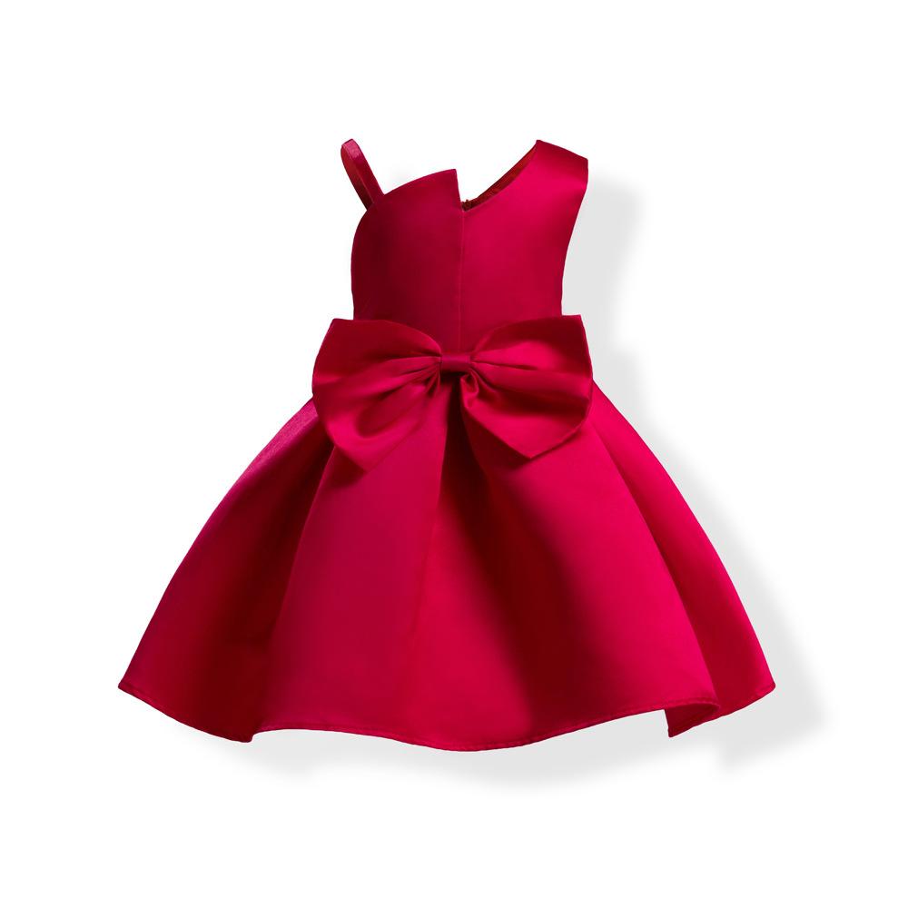 ชุดเด็ก : เดรสเปิดไหล่ สีแดง