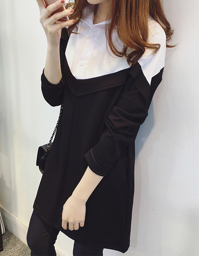 เสื้อแฟชั่นผู้หญิงแขนยาว แต่งคอปกสไตล์เกาหลี-1592-สีดำ