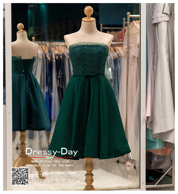 รหัส ชุดราตรีสั้น :PF006 ชุดราตรีสั้น เดรสออกงาน ชุดไปงานแต่งงาน ชุดแซก สีฟ้า เกาะอก สวยหรูประดับมุก เหมาะสำหรับงานแต่งงาน งานกลางคืน กาล่าดินเนอร์