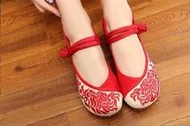 รองเท้าจีน สีครีม-แดง ลายไทย