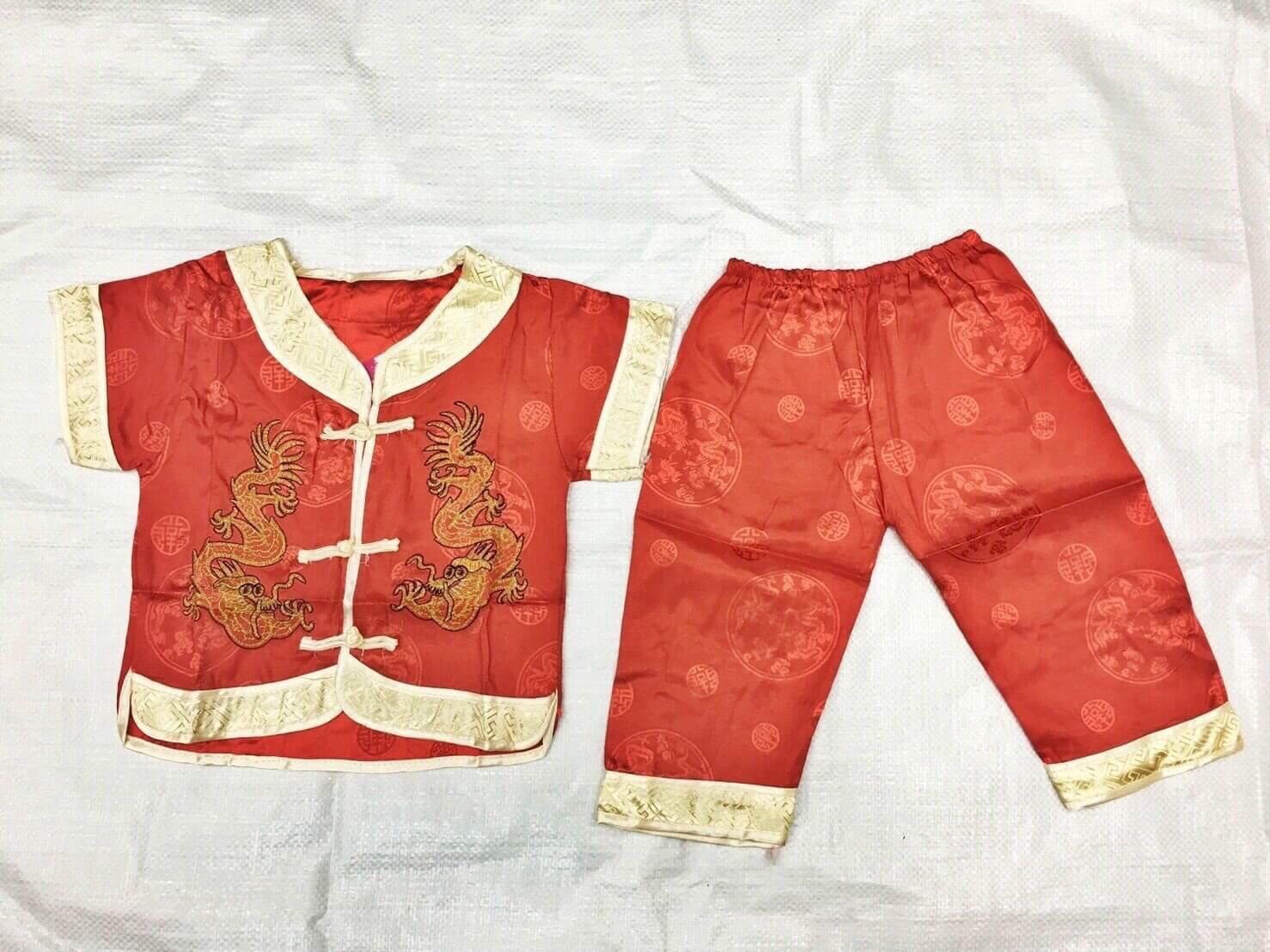 ชุดเสื้อจีนแขนสั้นกระดุมหน้า+กางเกงสามส่วน