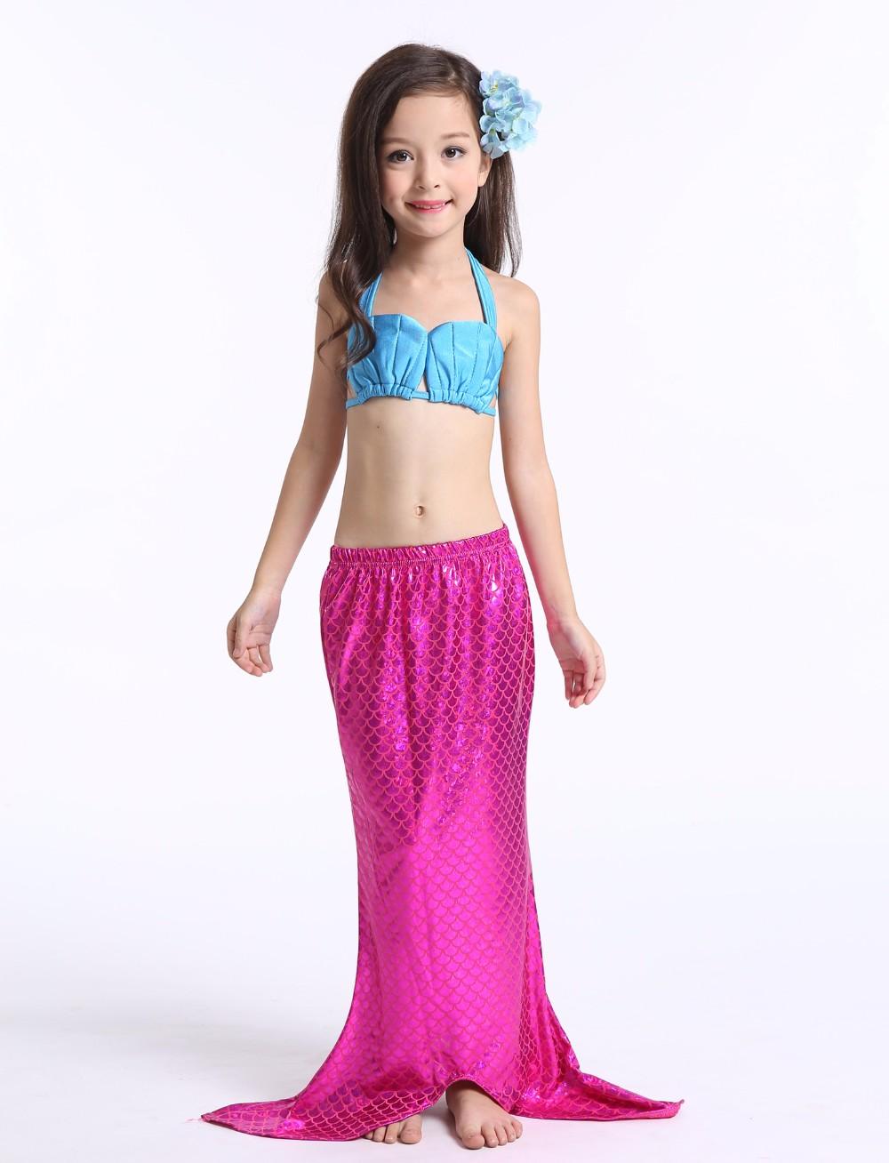 ชุดว่ายน้ำ นางนางเงือก เซ็ต 3 ชิ้น รุ่นเสื้อผูกอก สีชมพู-ฟ้า