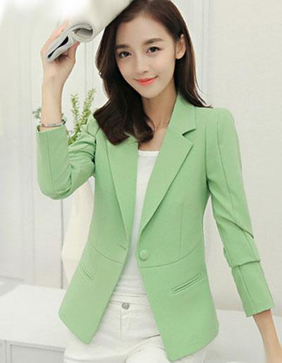 เสื้อสูทผู้หญิงแฟชั่นสีเขียวใส่ทำงาน สไตล์เรียบหรูมี 5 ไซส S/M/L/XL/2XL รหัส 1755